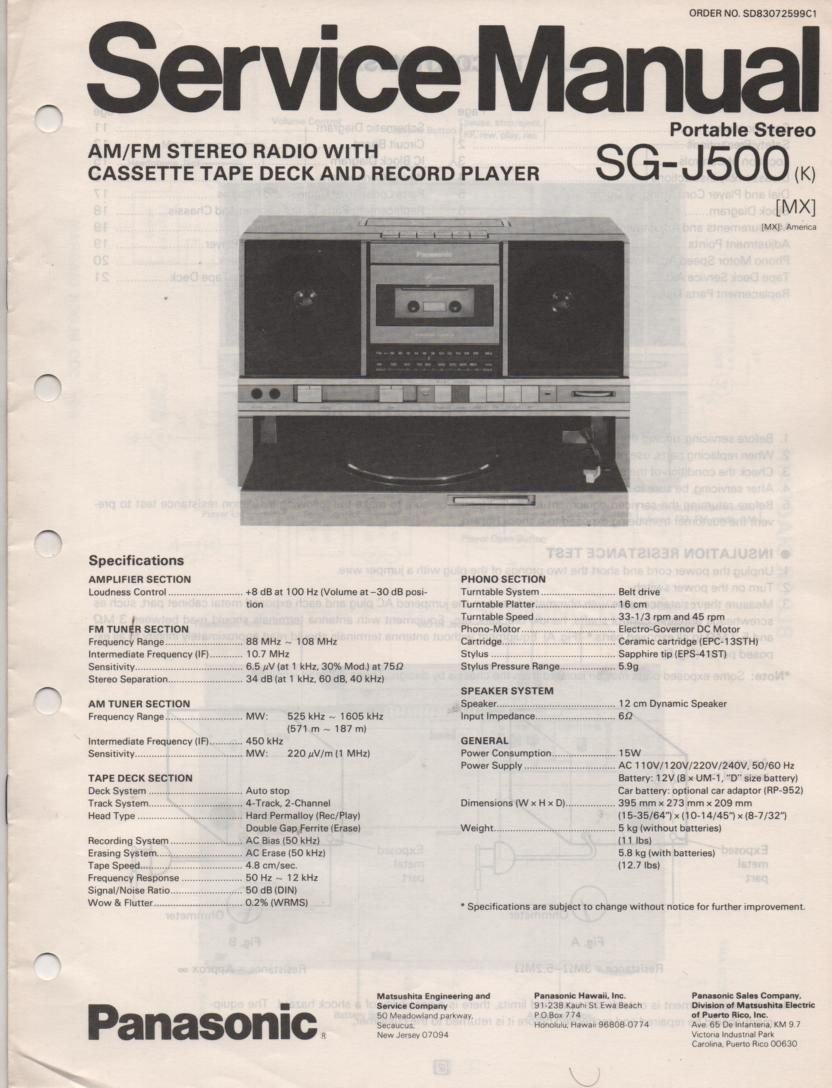 SG-J500 Portable Stereo System Service Manual