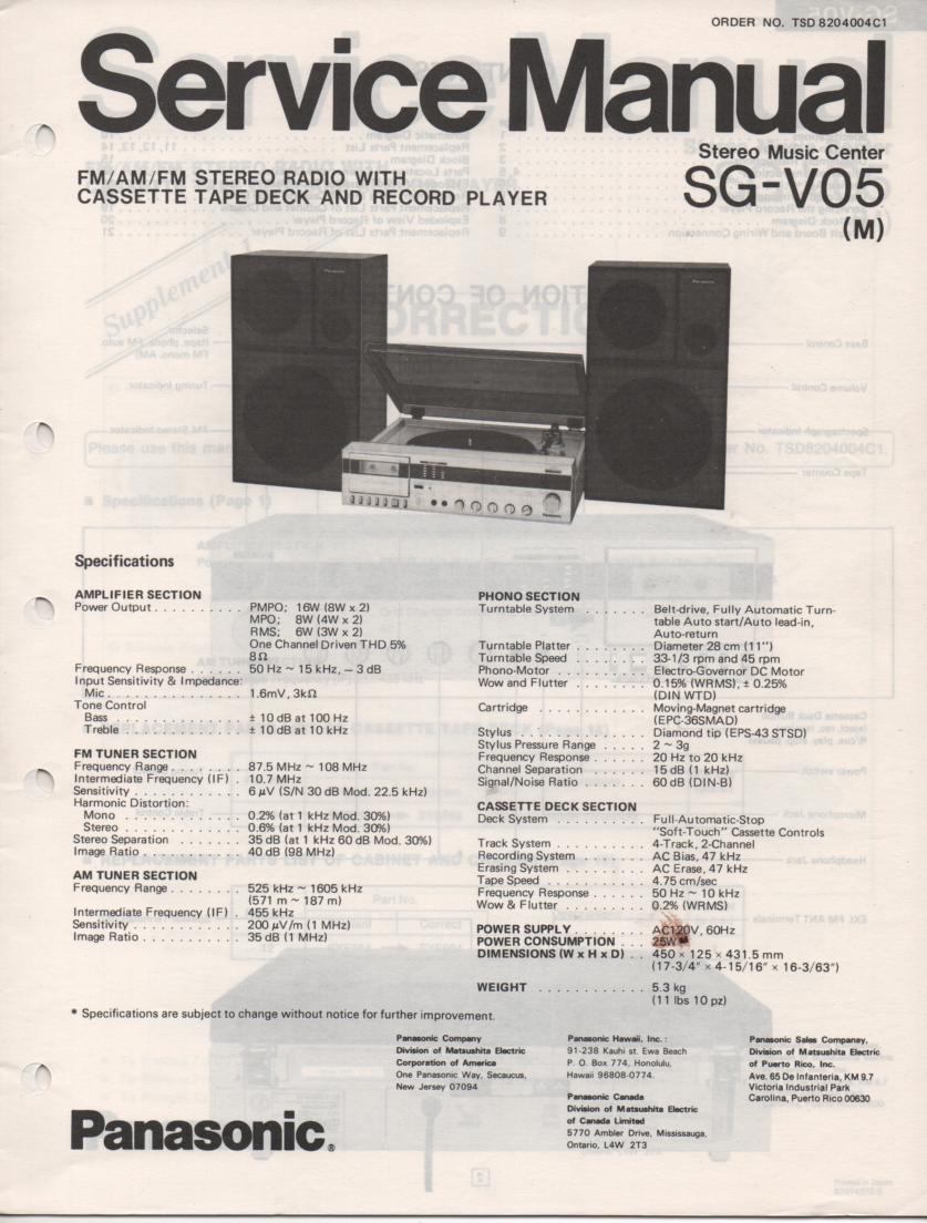 SG-V05 Music Center Stereo System Service Manual