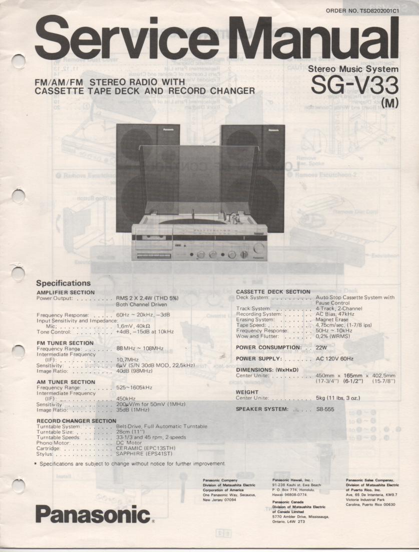 SG-V33 Music Center Stereo System Service Manual