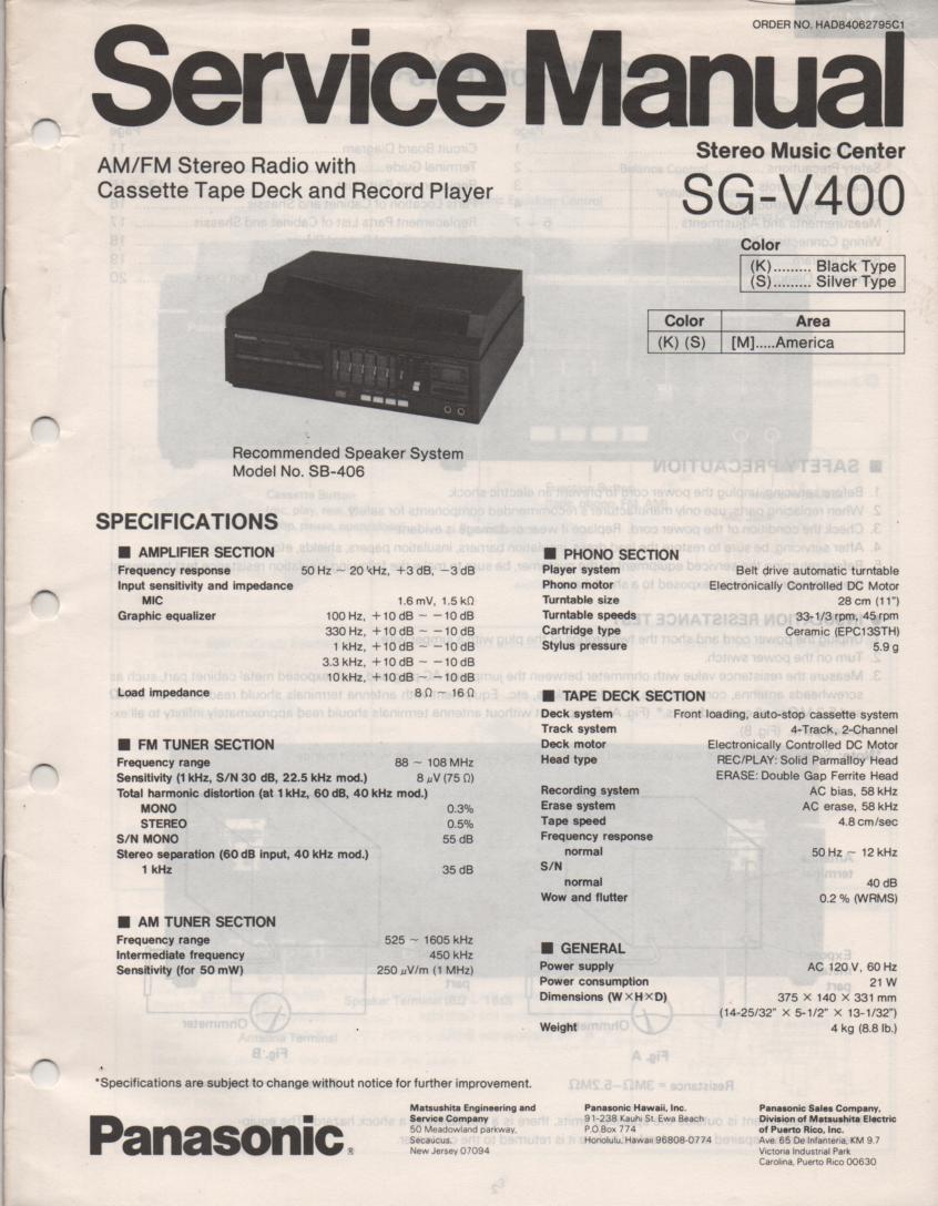 SG-V400 Music Center Stereo System Service Manual
