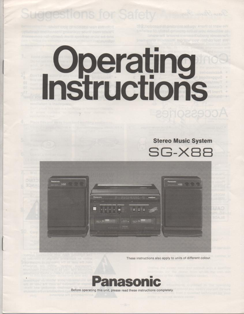 SG-X88 Music Center Stereo System Operating Instruction Manual
