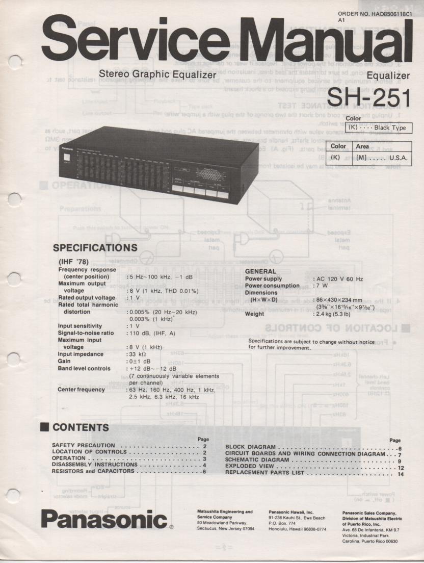 SH-251 Equalizer Service Manual