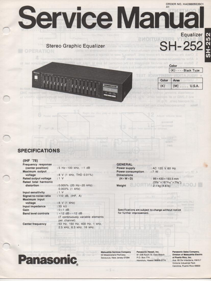 SH-252 Equalizer Service Manual