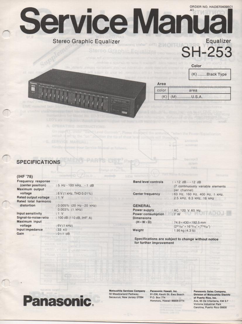SH-253 Equalizer Service Manual