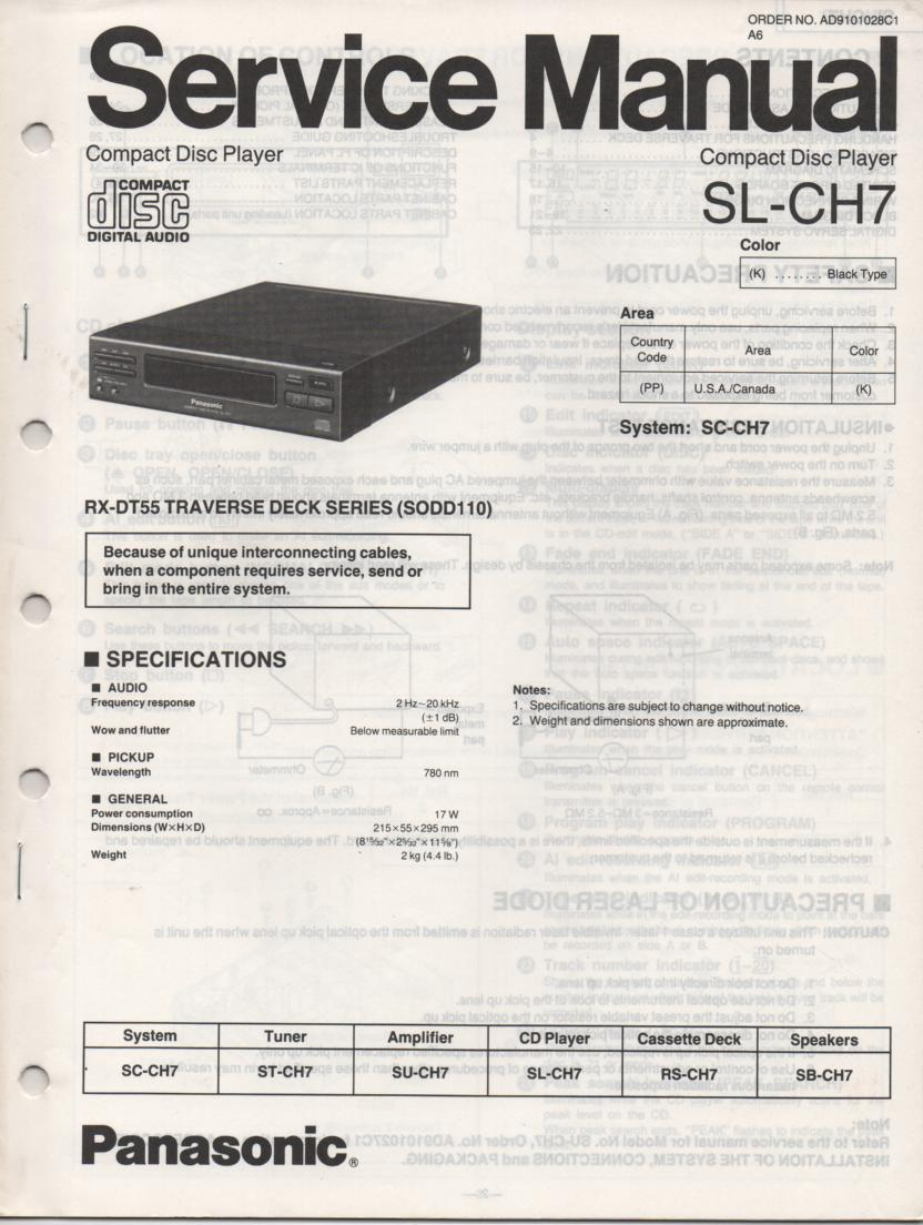 SL-CH7 CD Player Service Manual