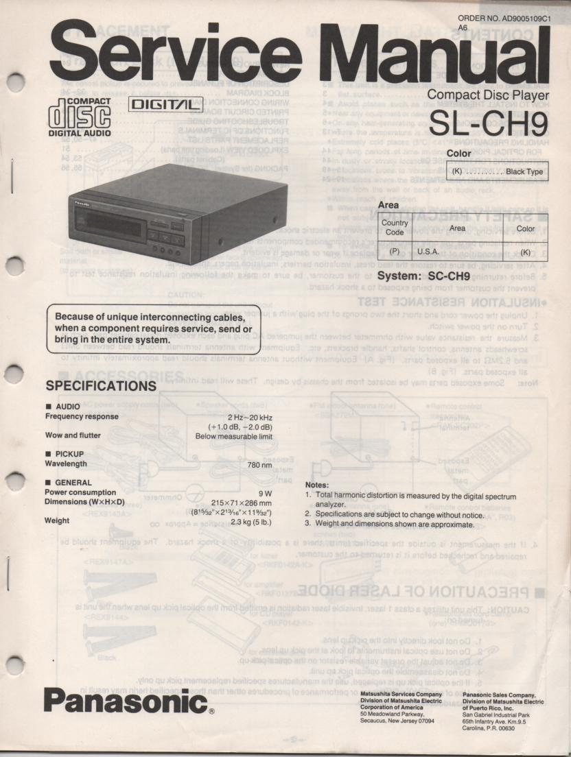 SL-CH9 CD Player Service Manual