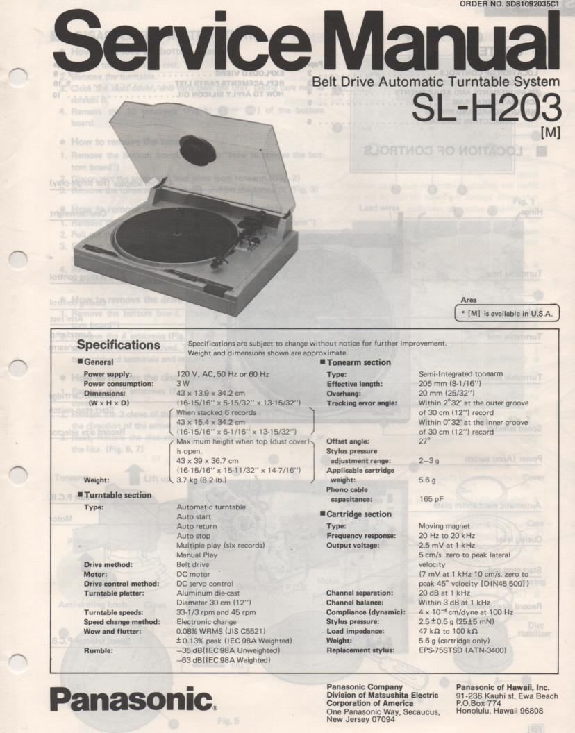 SL-H203 Turntable Service Manual