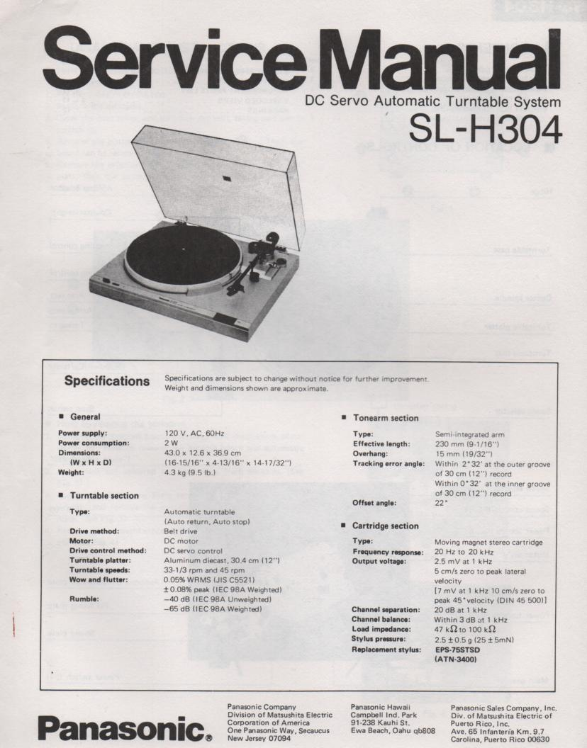 SL-H304 Turntable Service Manual