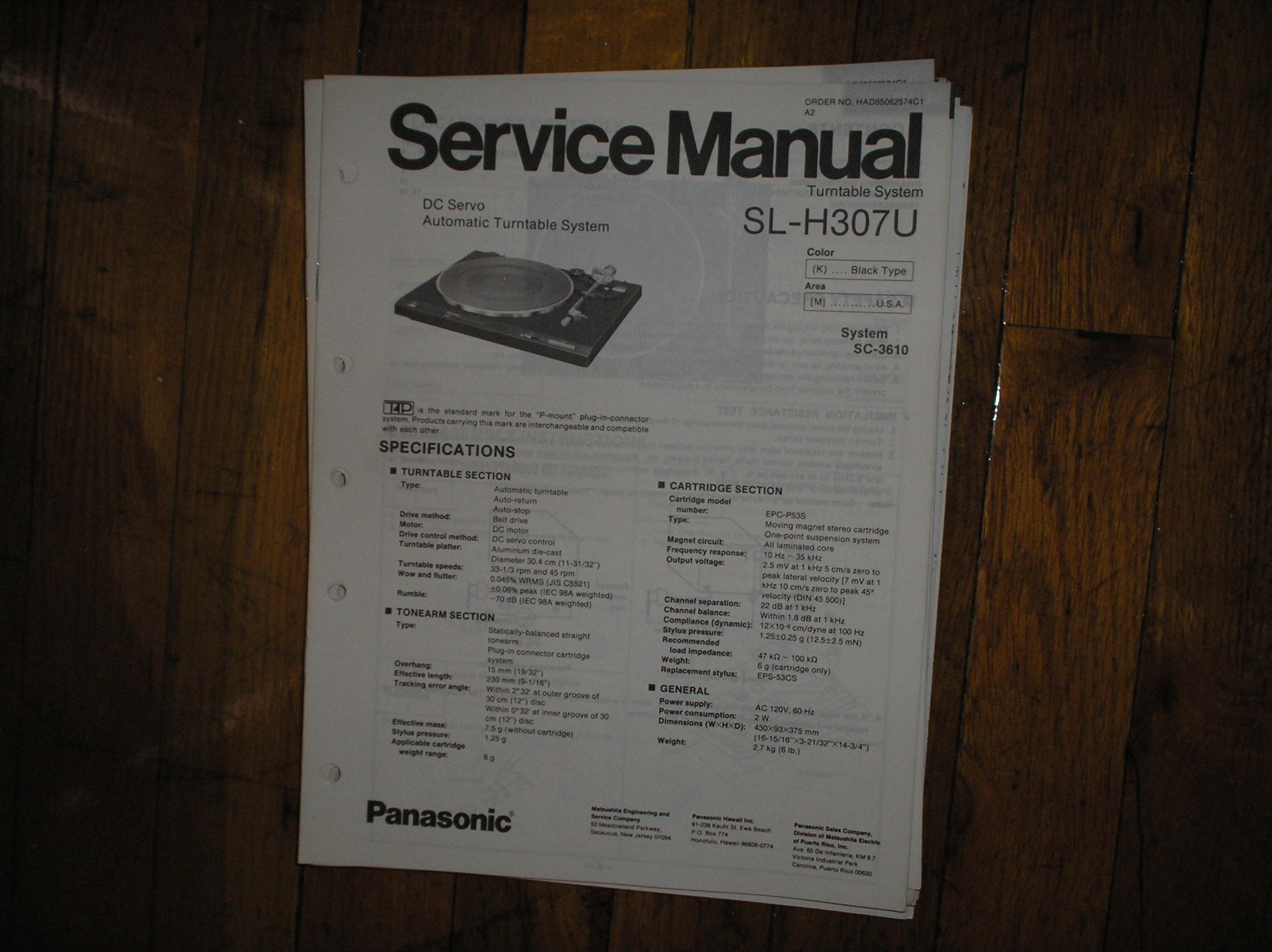 SL-H307U Turntable Service Manual
