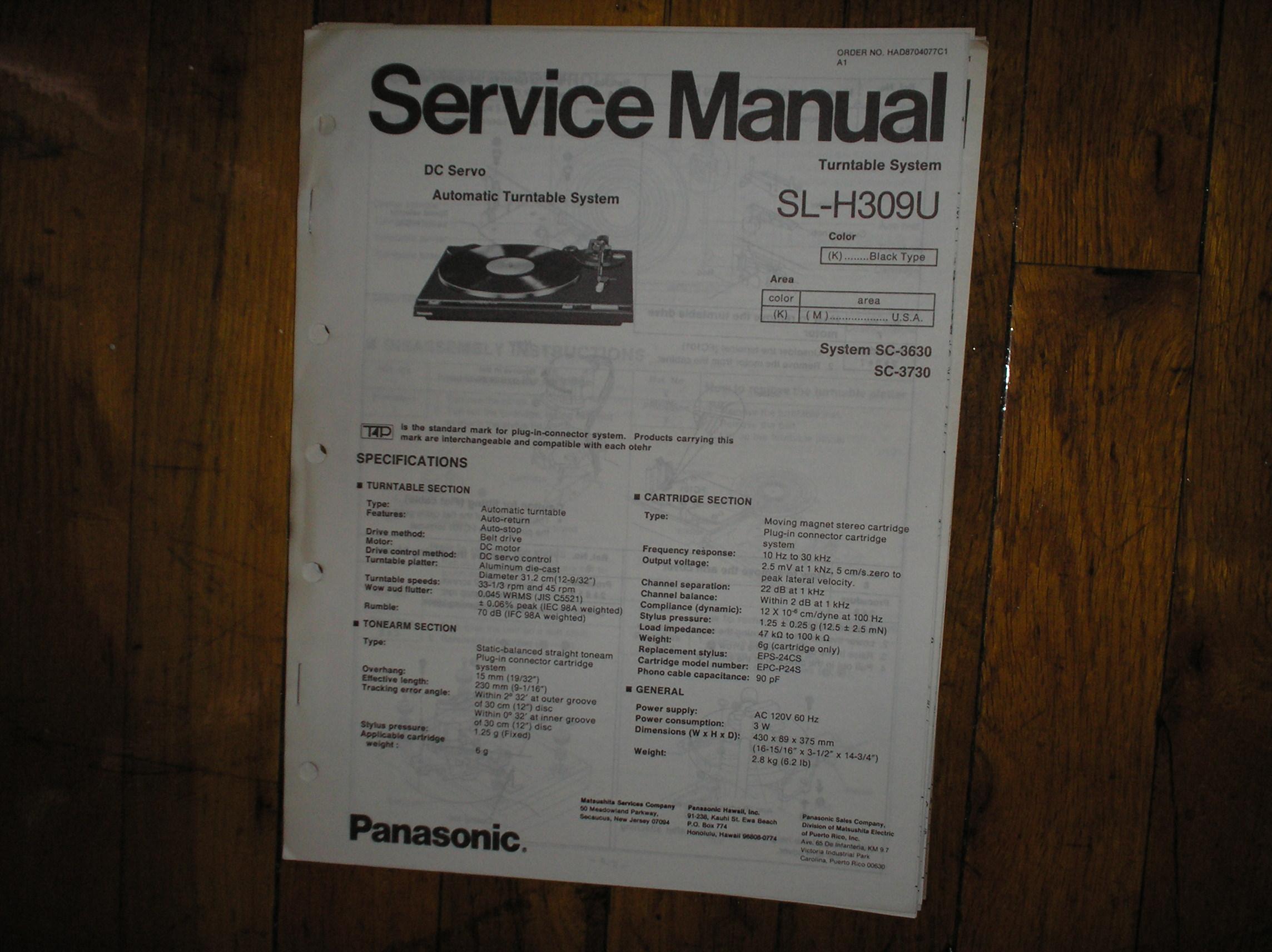 SL-H309U Turntable Service Manual
