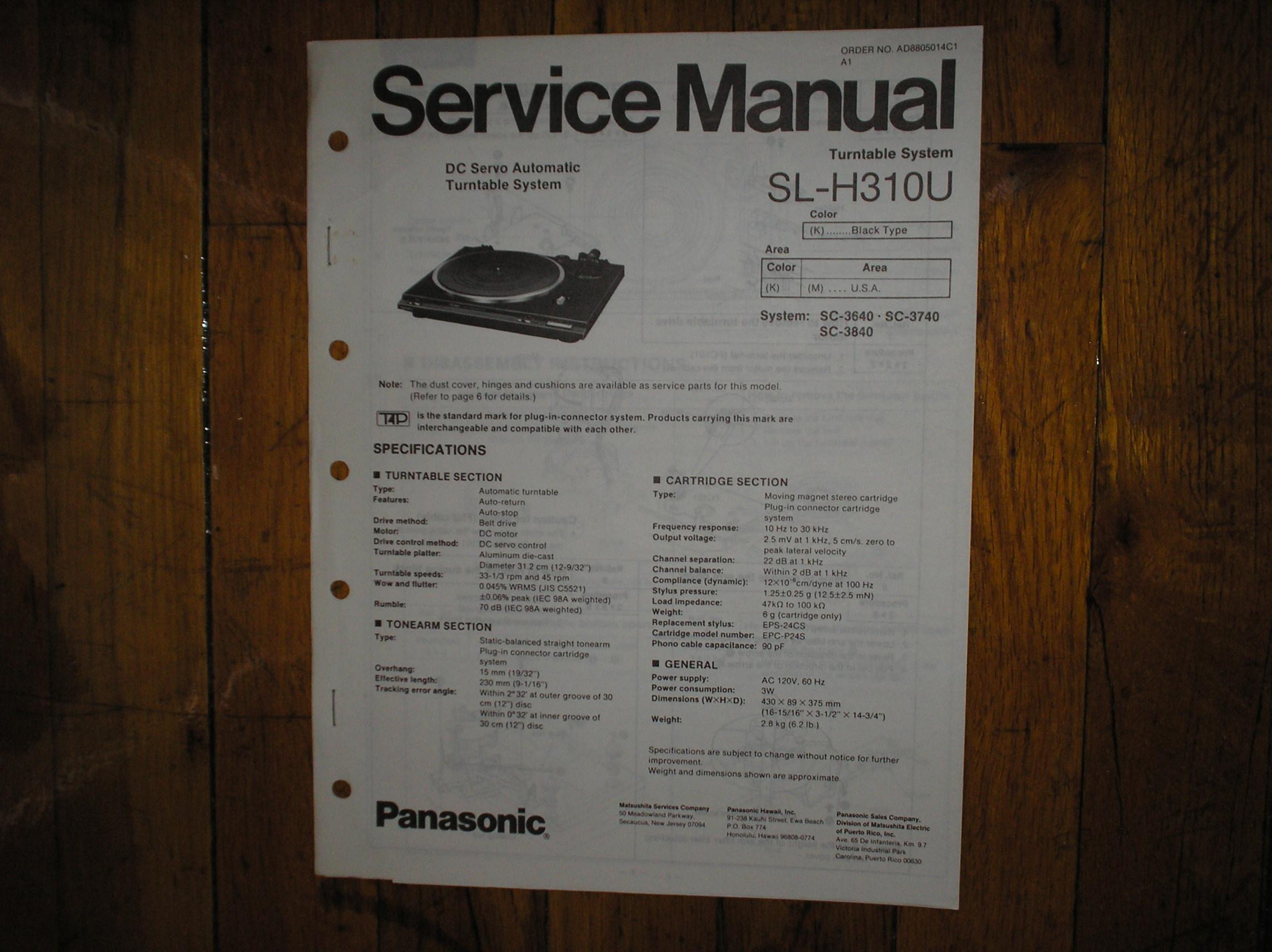 SL-H310U Turntable Service Manual