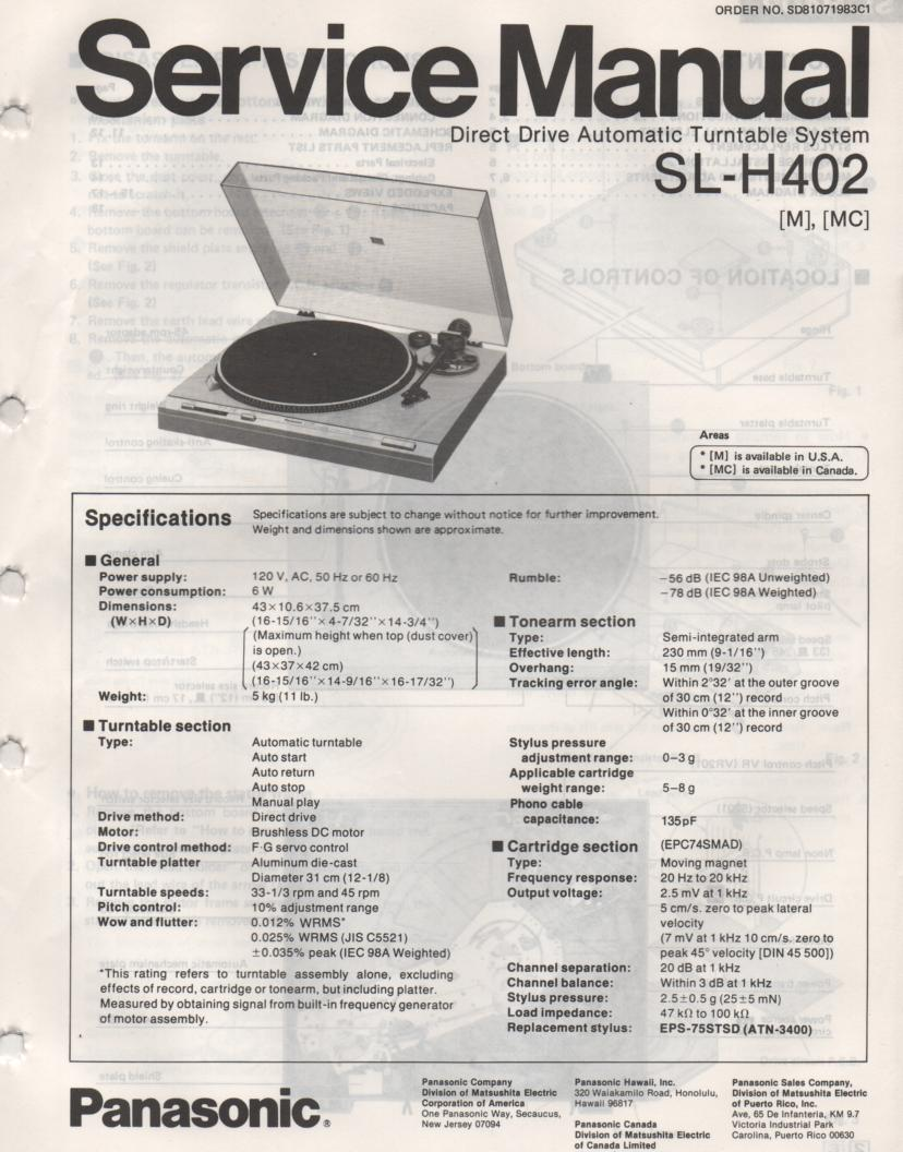 SL-H402 Turntable Service Manual