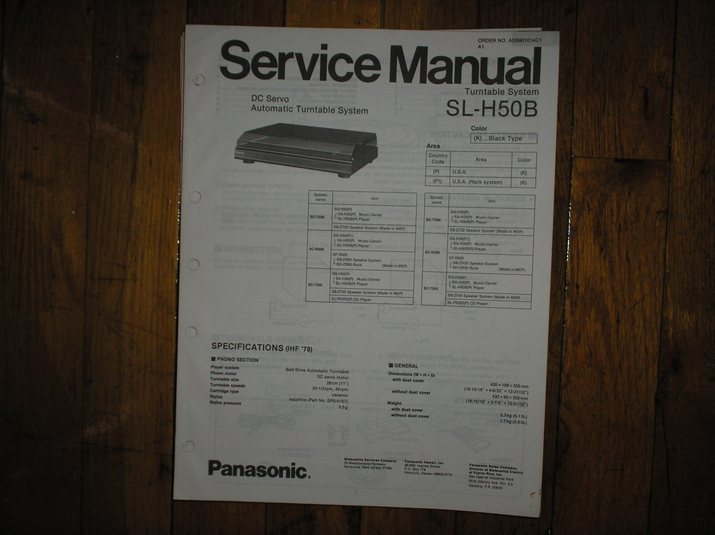 SL-H50B Turntable Service Manual