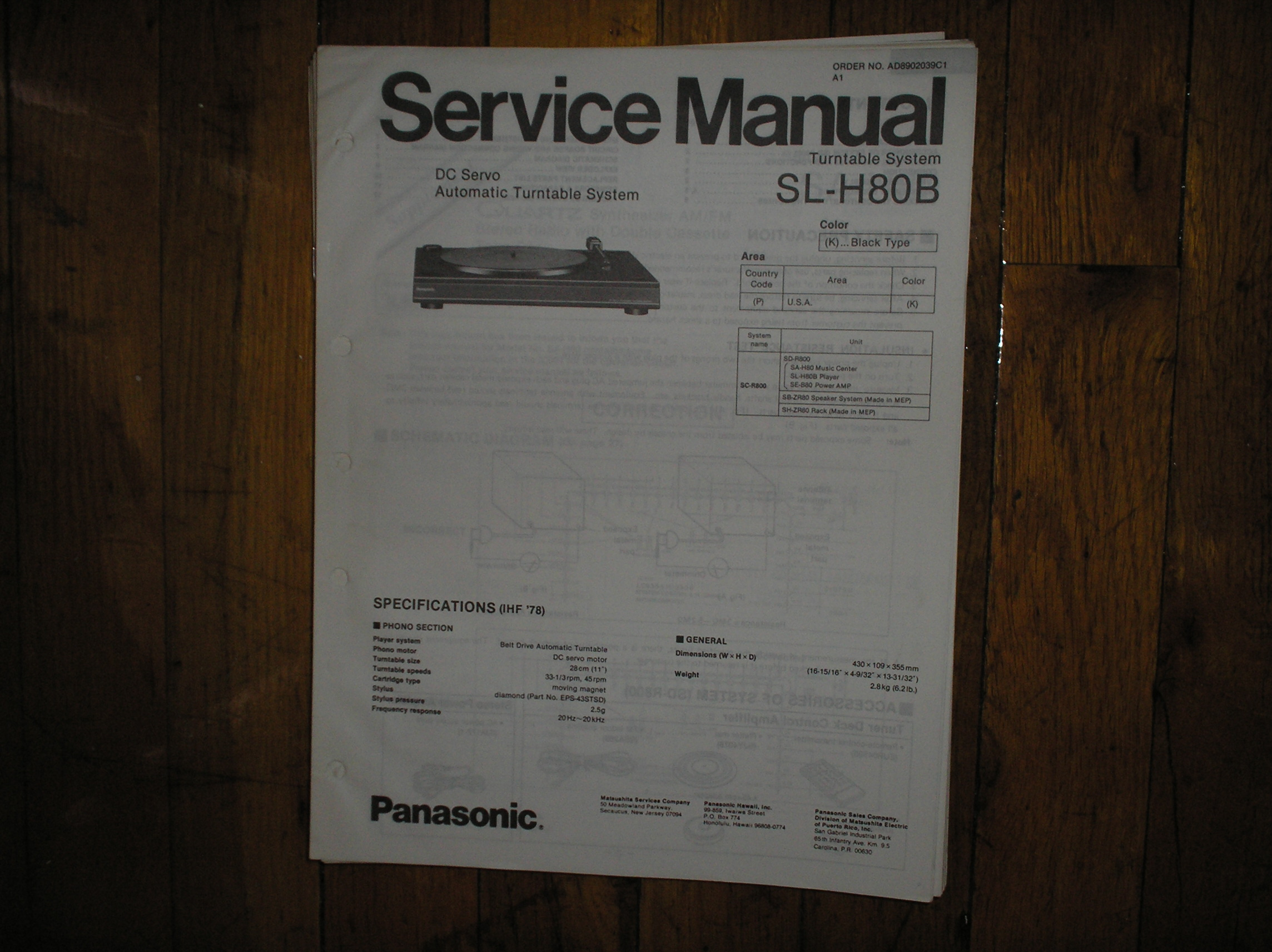 SL-H80B Turntable Service Manual
