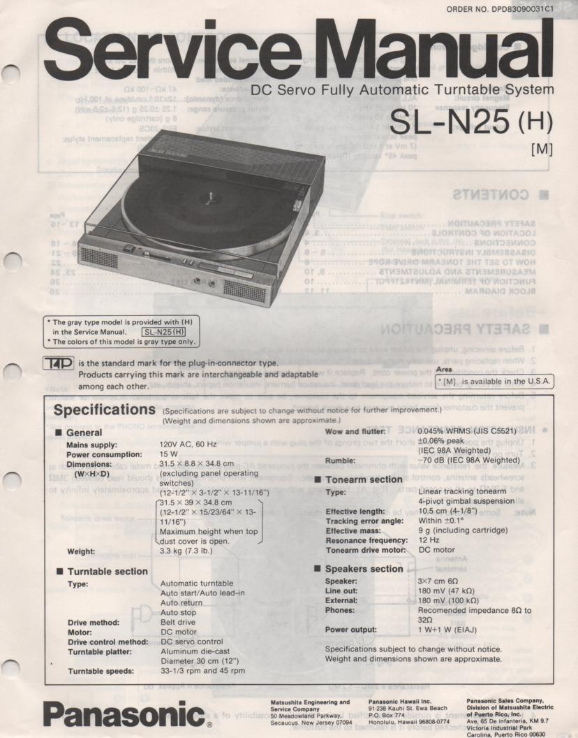 SL-N25 Turntable Service Manual