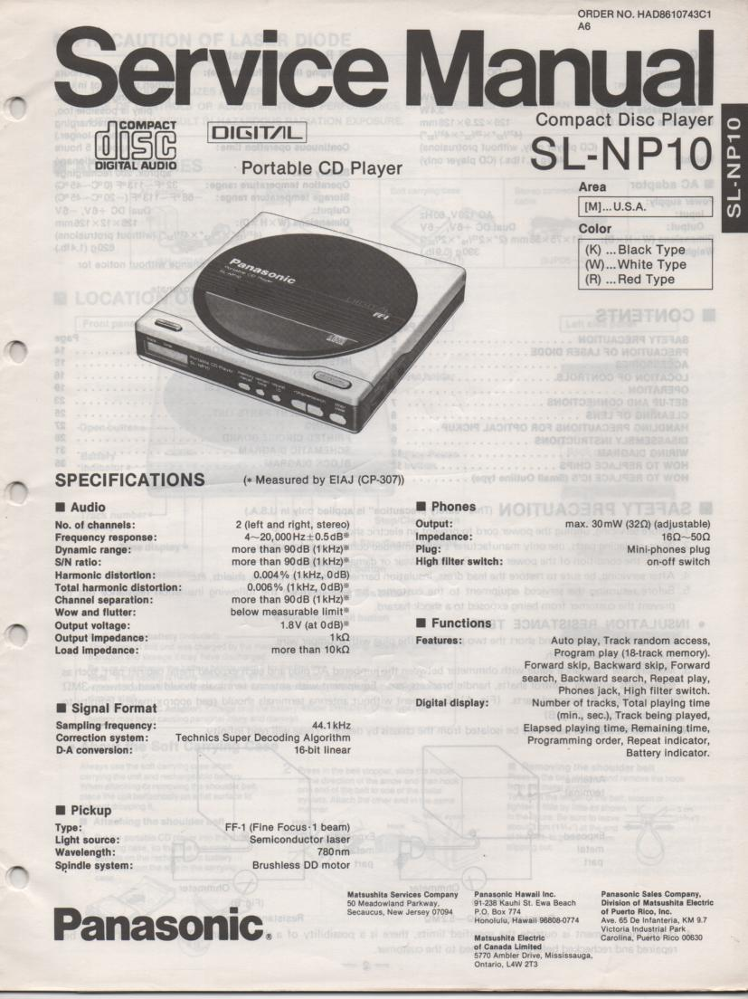 SL-NP10 Portable CD Player Service Manual