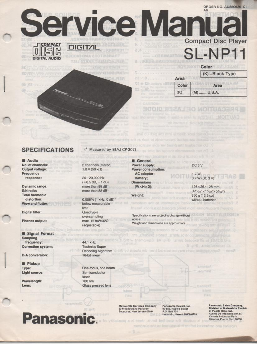 SL-NP11 Portable CD Player Service Manual