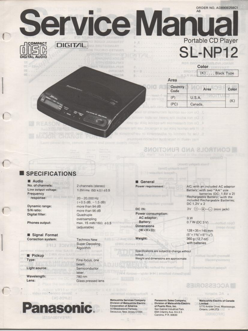 SL-NP12 Portable CD Player Service Manual