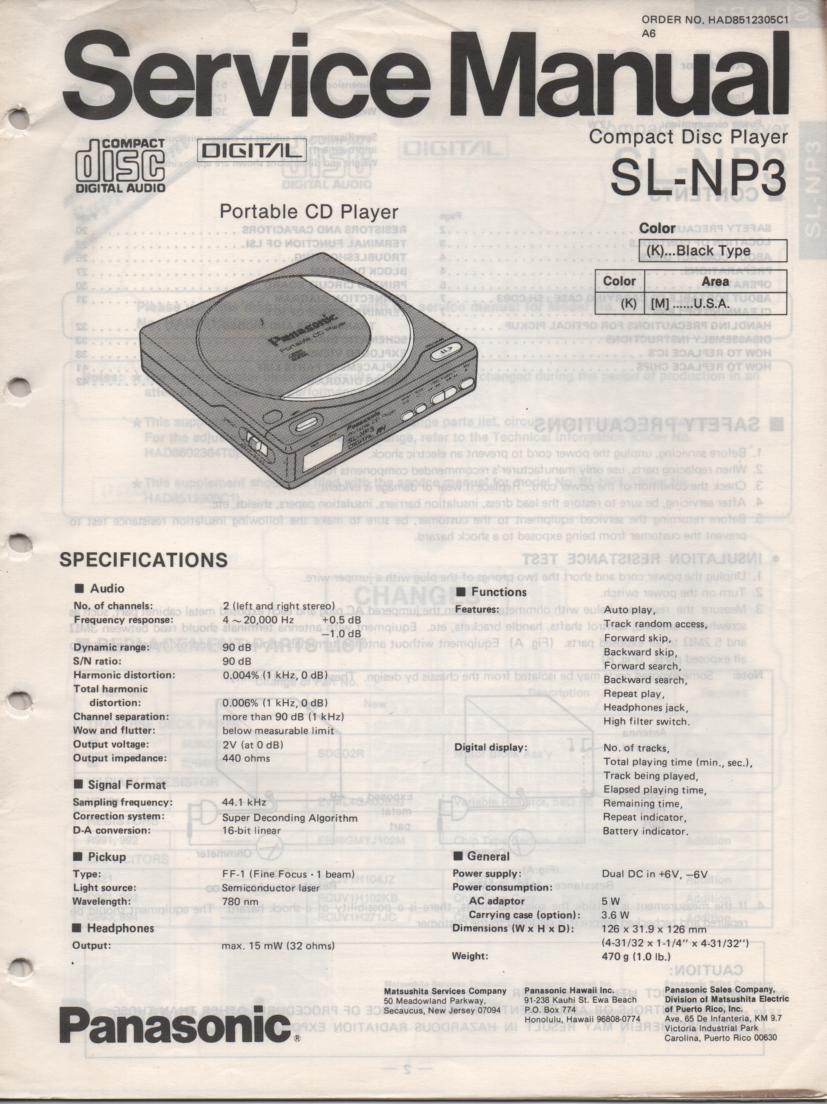 SL-NP3 Portable CD Player Service Manual