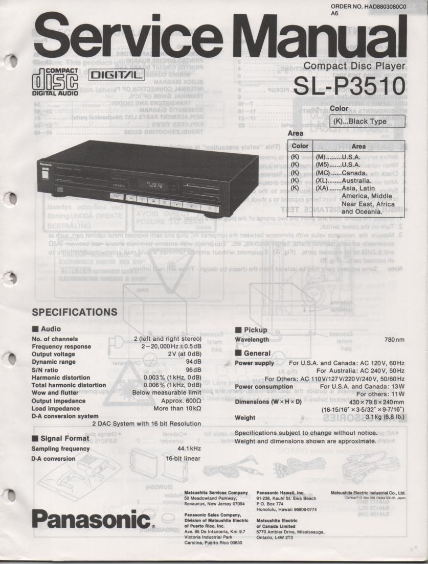 SL-P3510 CD Player Service Manual