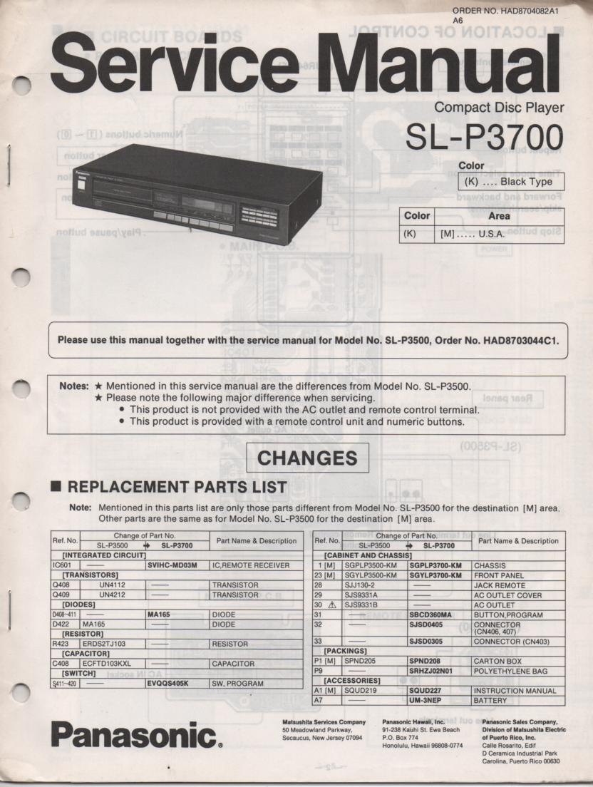 SL-P3700 CD Player Service Manual