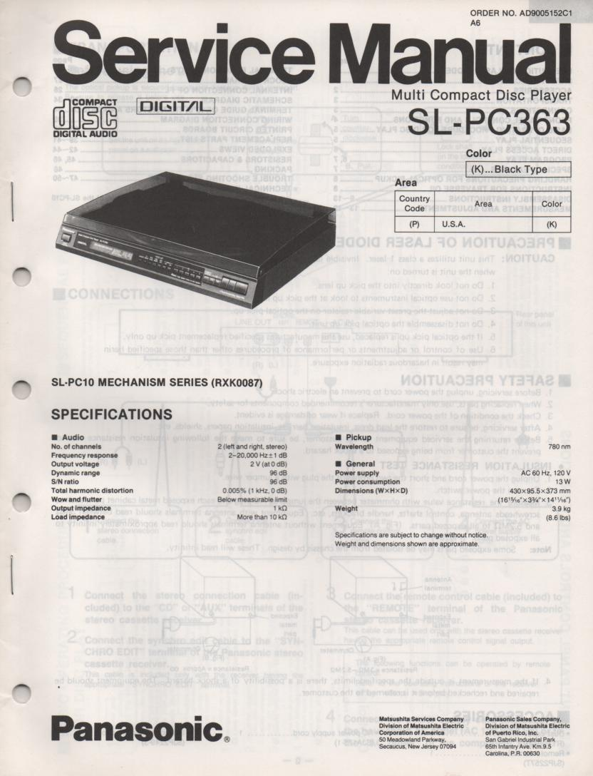 SL-PC363 Multi Disc CD Player Operating Instruction Manual