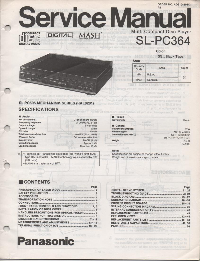 SL-PC364 Multi Disc CD Player Service Instruction Manual