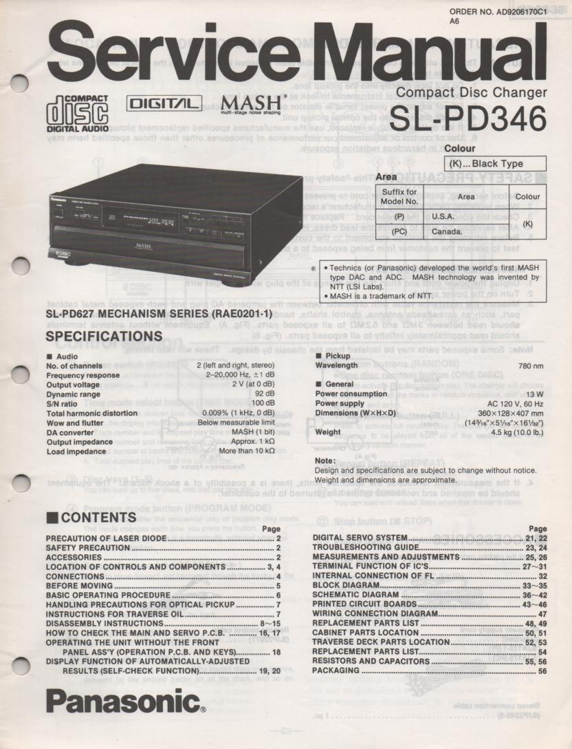 SL-PD346 Multi Disc CD Player Service Instruction Manual