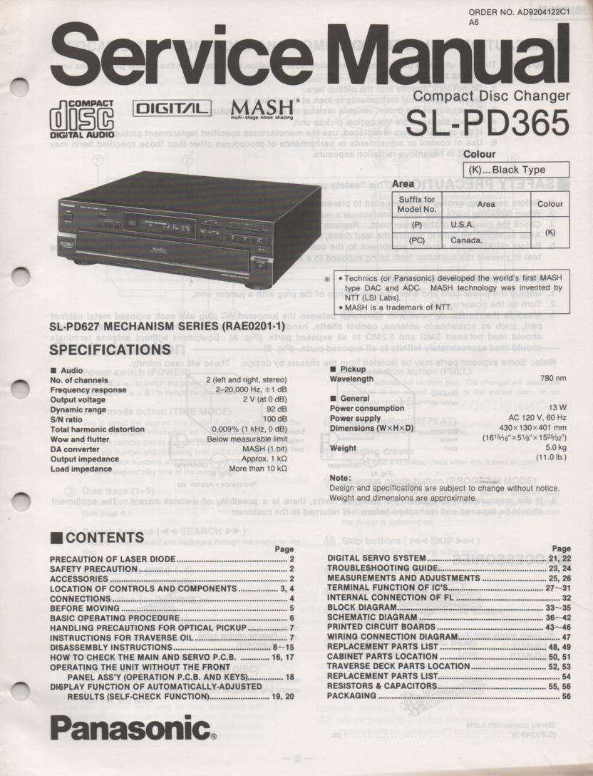 SL-PD365 Multi Disc CD Player Service Instruction Manual