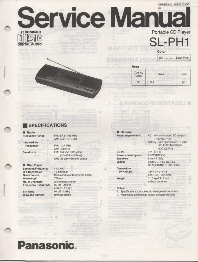 SL-PH1 Multi Disc CD Player Service Instruction Manual