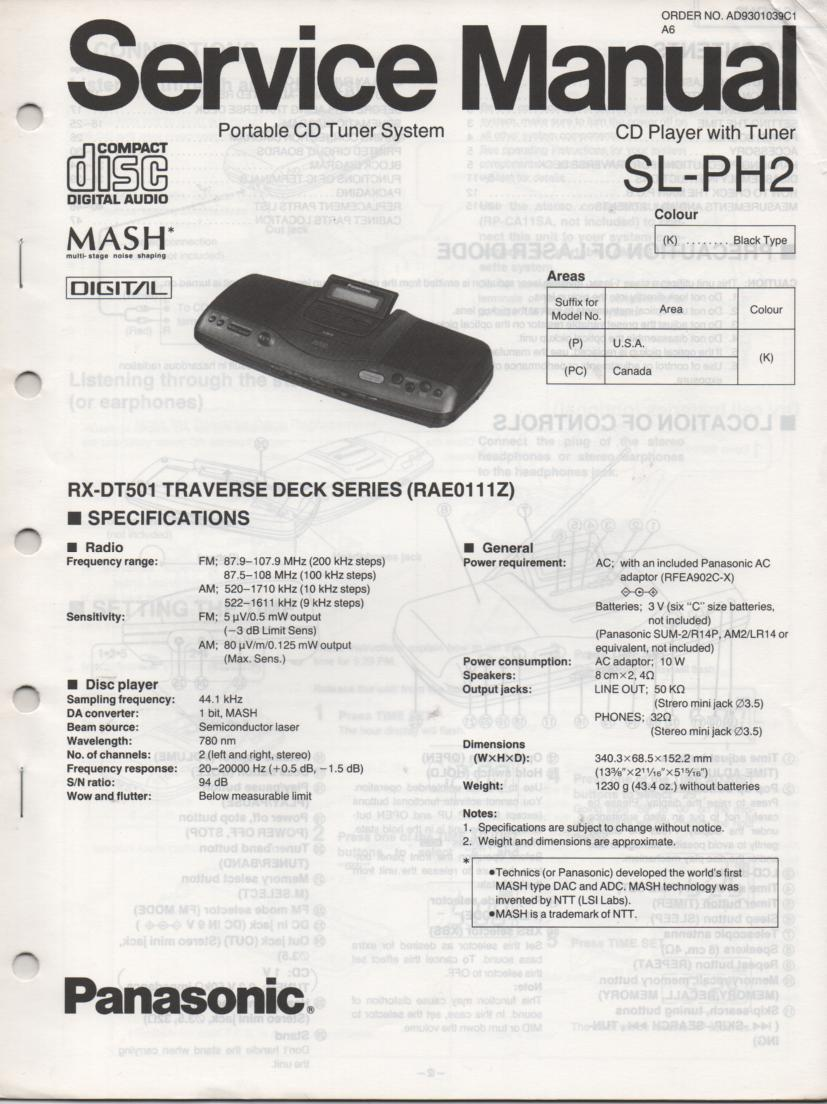 SL-PH2 Multi Disc CD Player Service Instruction Manual