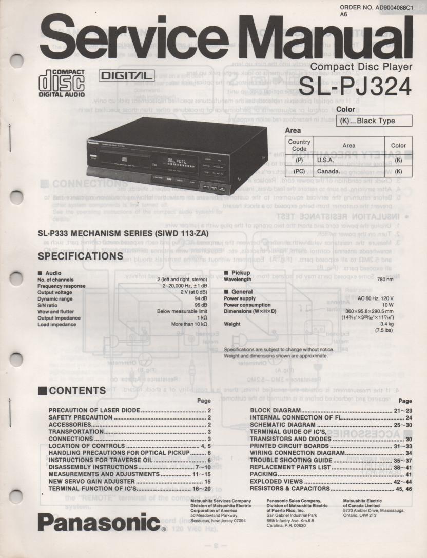 SL-PJ324 Multi Disc CD Player Service Instruction Manual