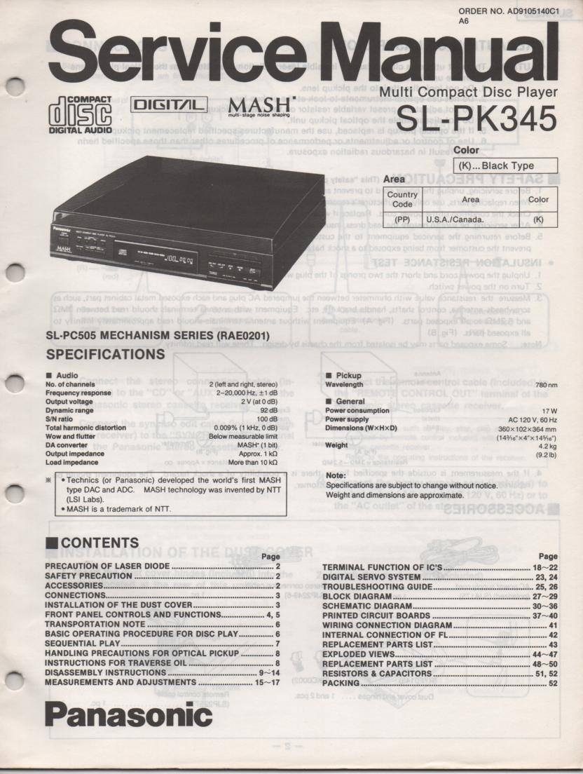 SL-PK345 Multi Disc CD Player Service Instruction Manual