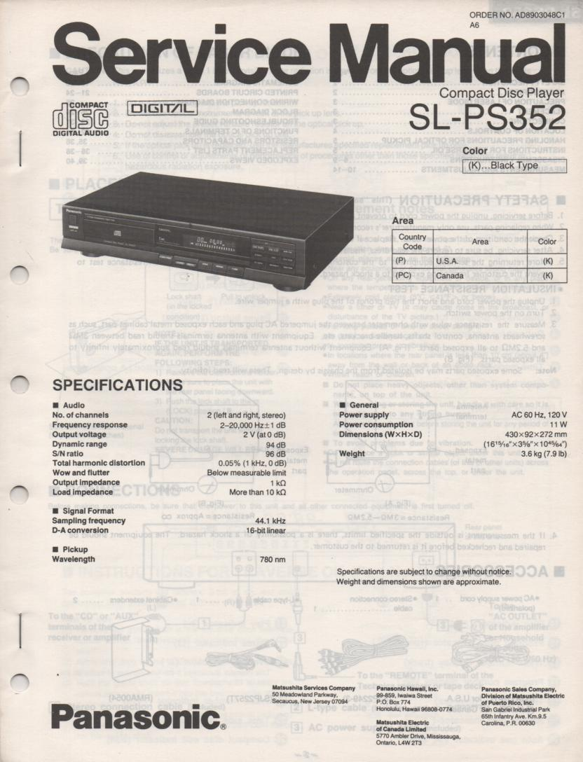 SL-PS352 CD Player Service Instruction Manual