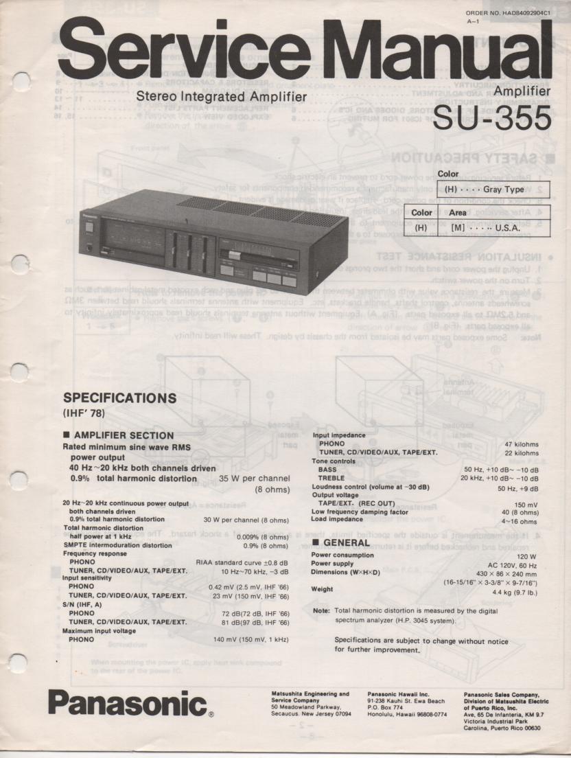 SU-355 Amplifier Service Manual