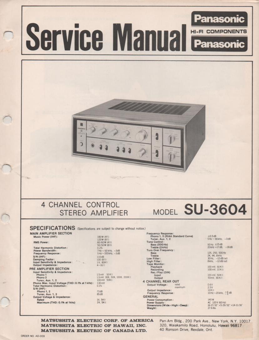 SU-3604 4 Channel Stereo Control Amplifier Service Manual