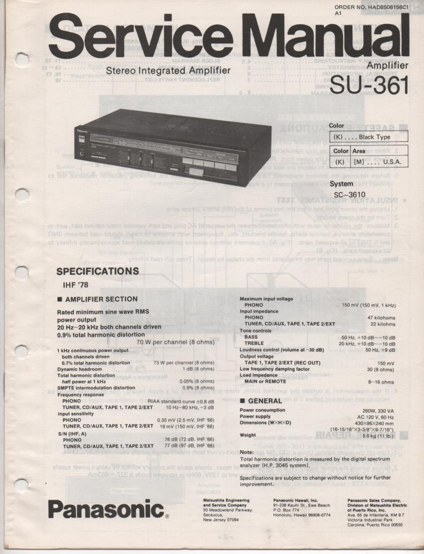 SU-361 Amplifier Service Manual