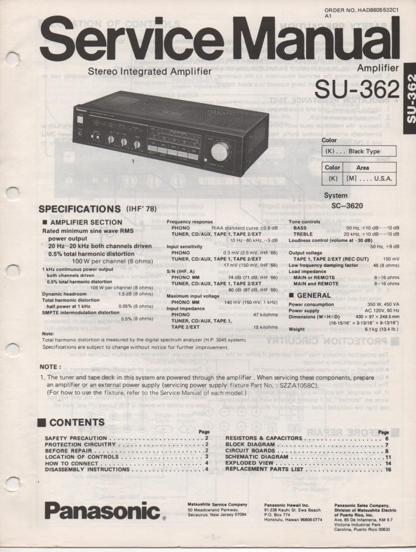SU-362 Amplifier Service Manual