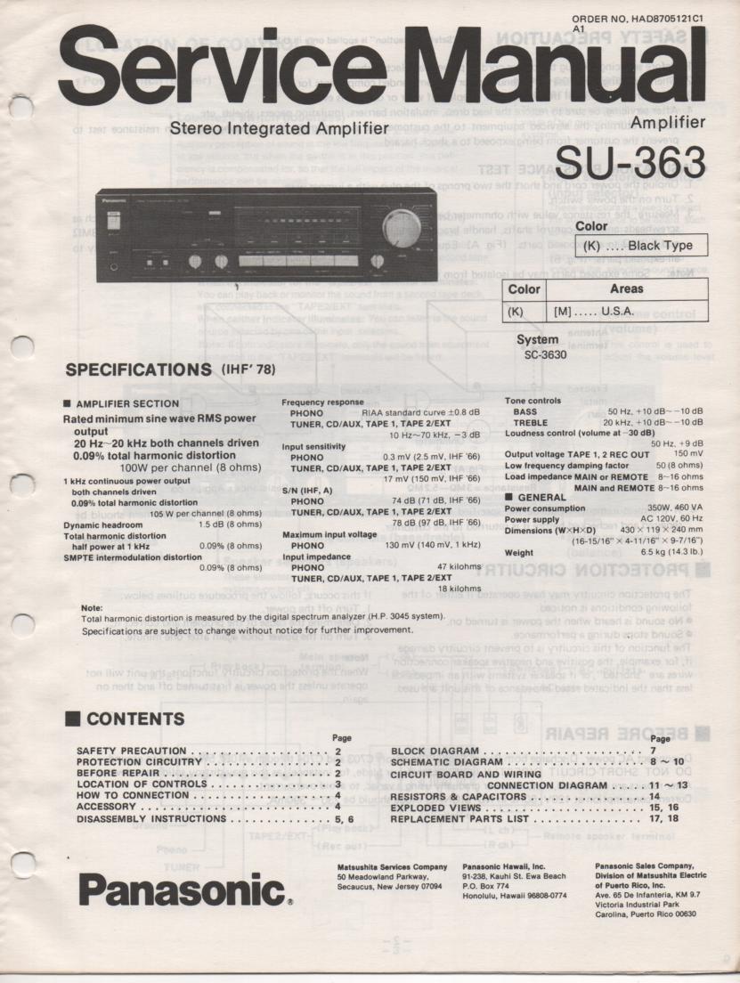 SU-363 Amplifier Service Manual