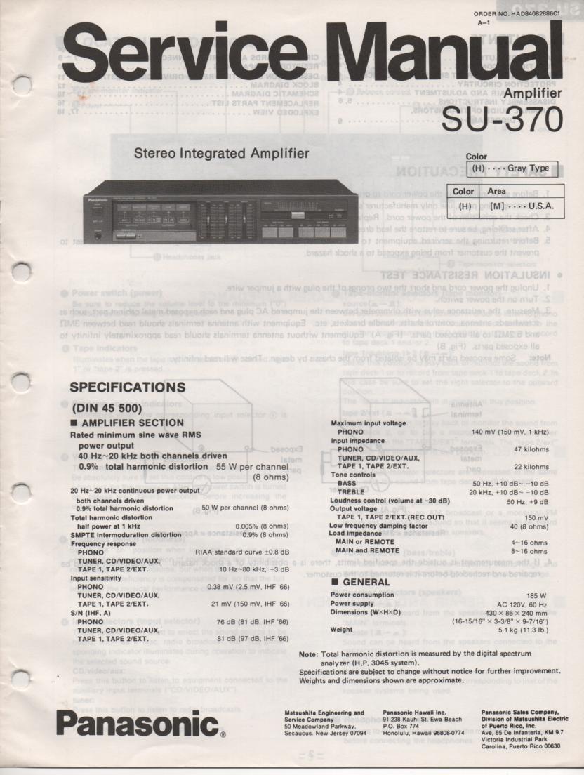 SU-370 Amplifier Service Manual