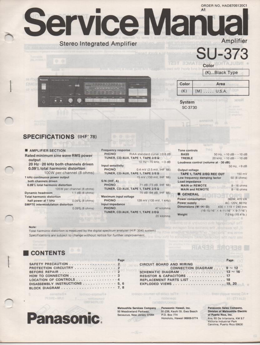 SU-373 Amplifier Service Manual