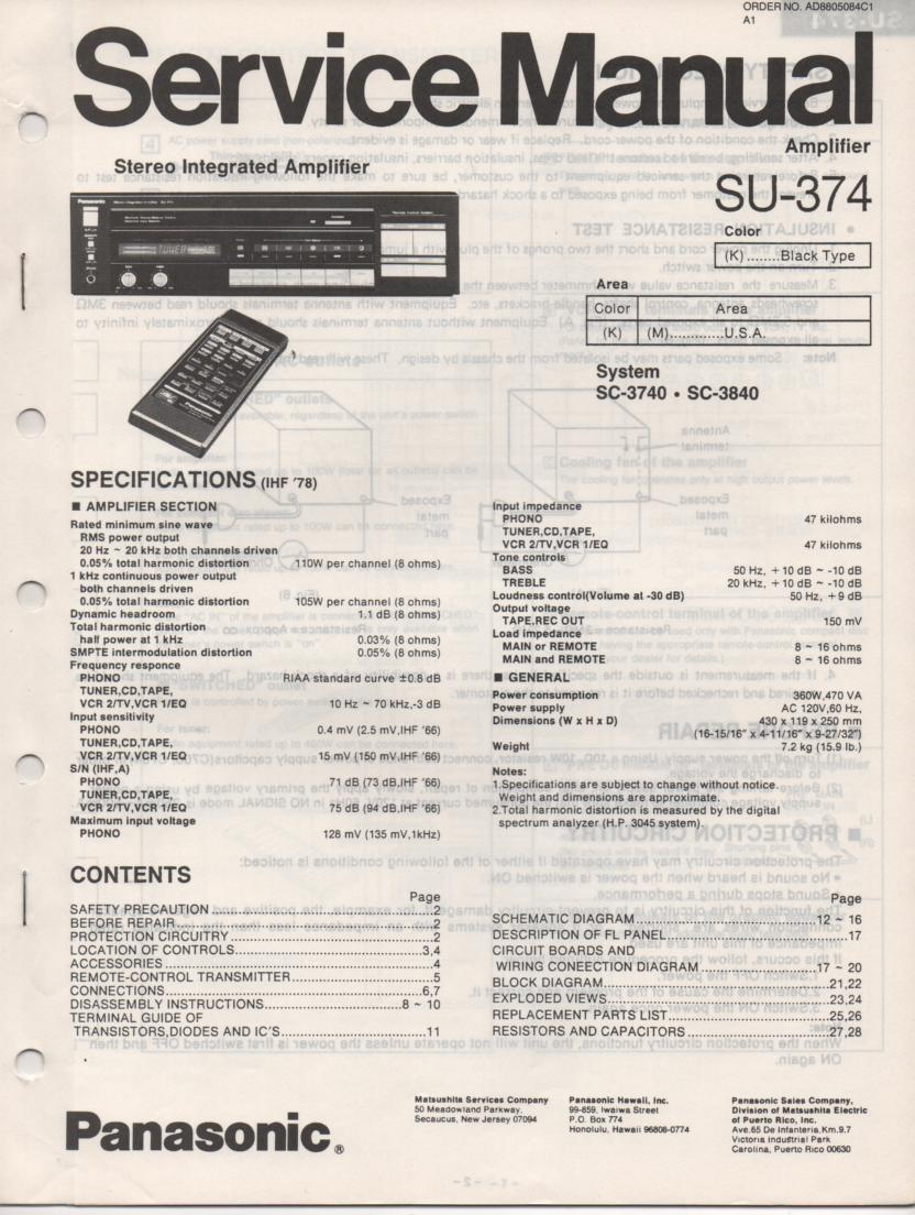 SU-374 Amplifier Service Manual