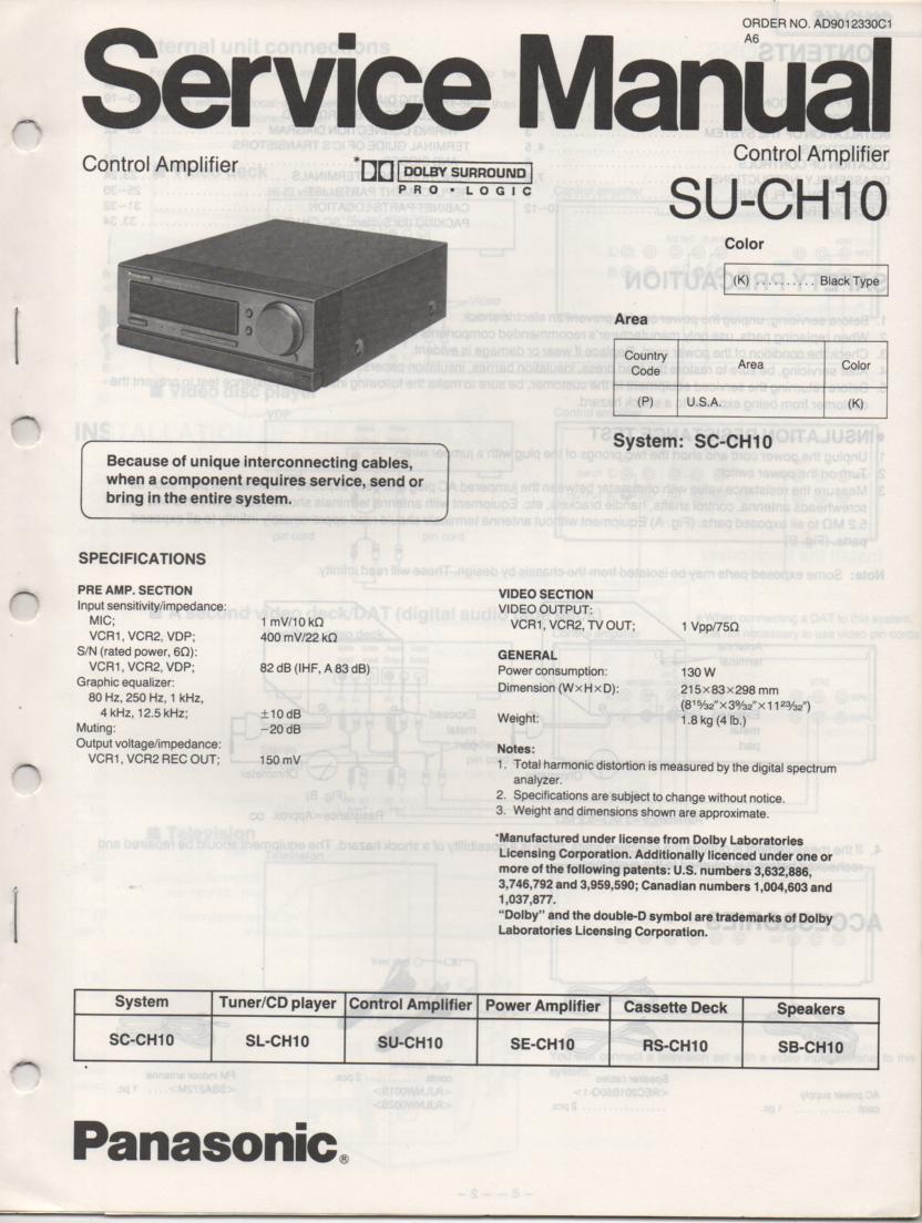 SU-CH10 Amplifier Service Manual