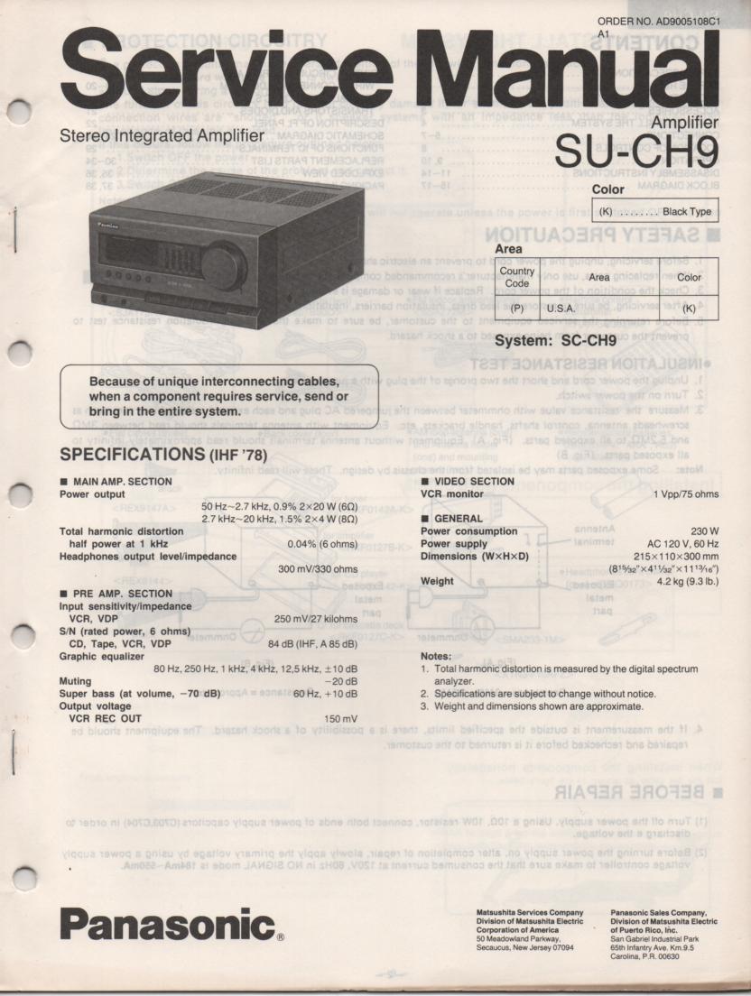 SU-CH9 Amplifier Service Manual