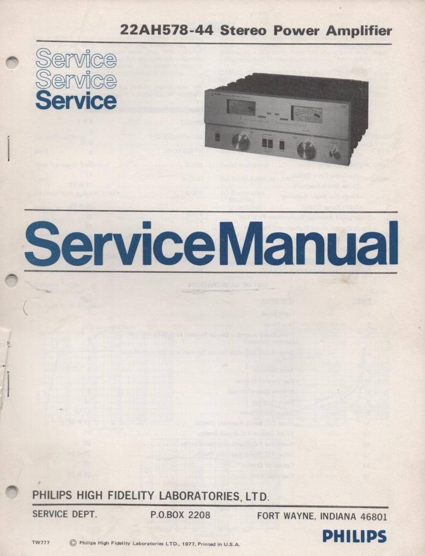 22AH578-44 Stereo Power Amplifier Service Manual