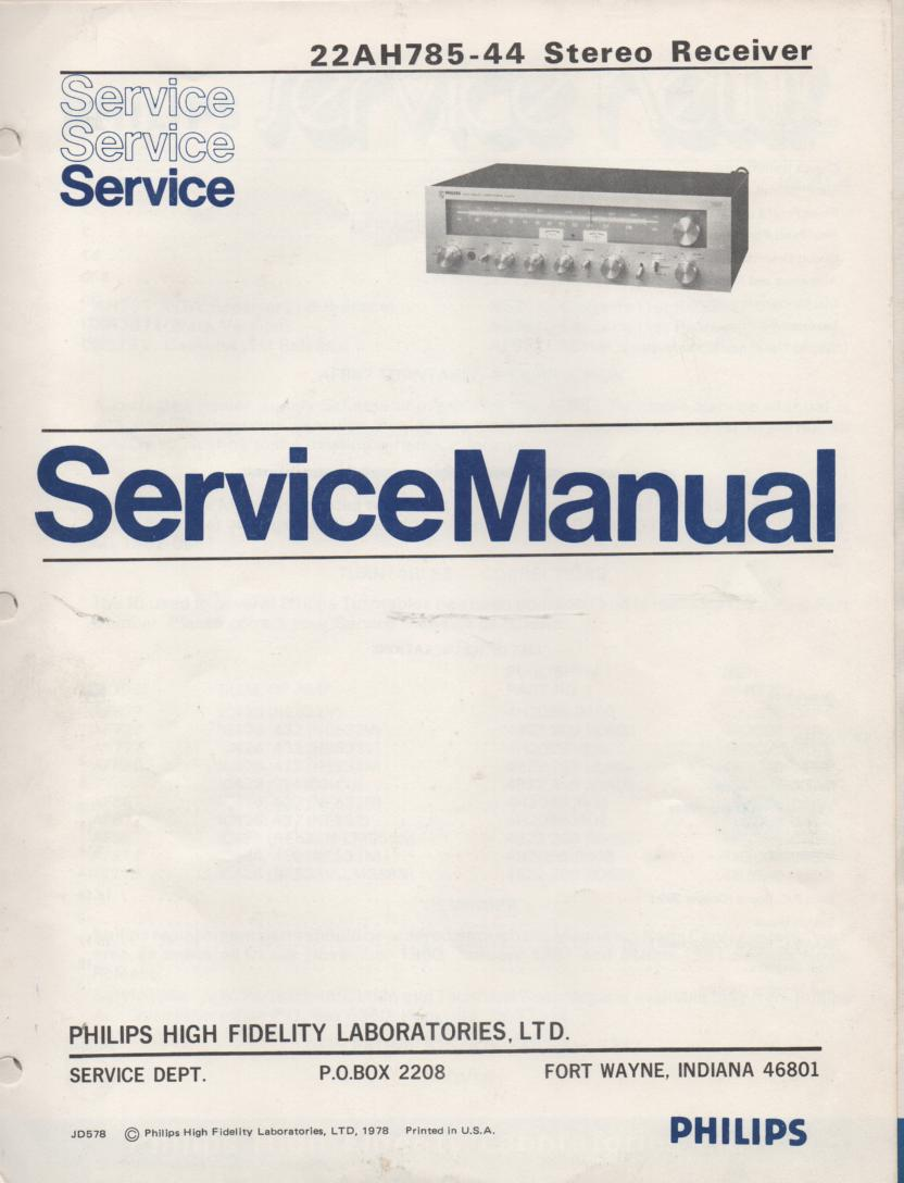 22AH785-44 Stereo Receiver Service Manual