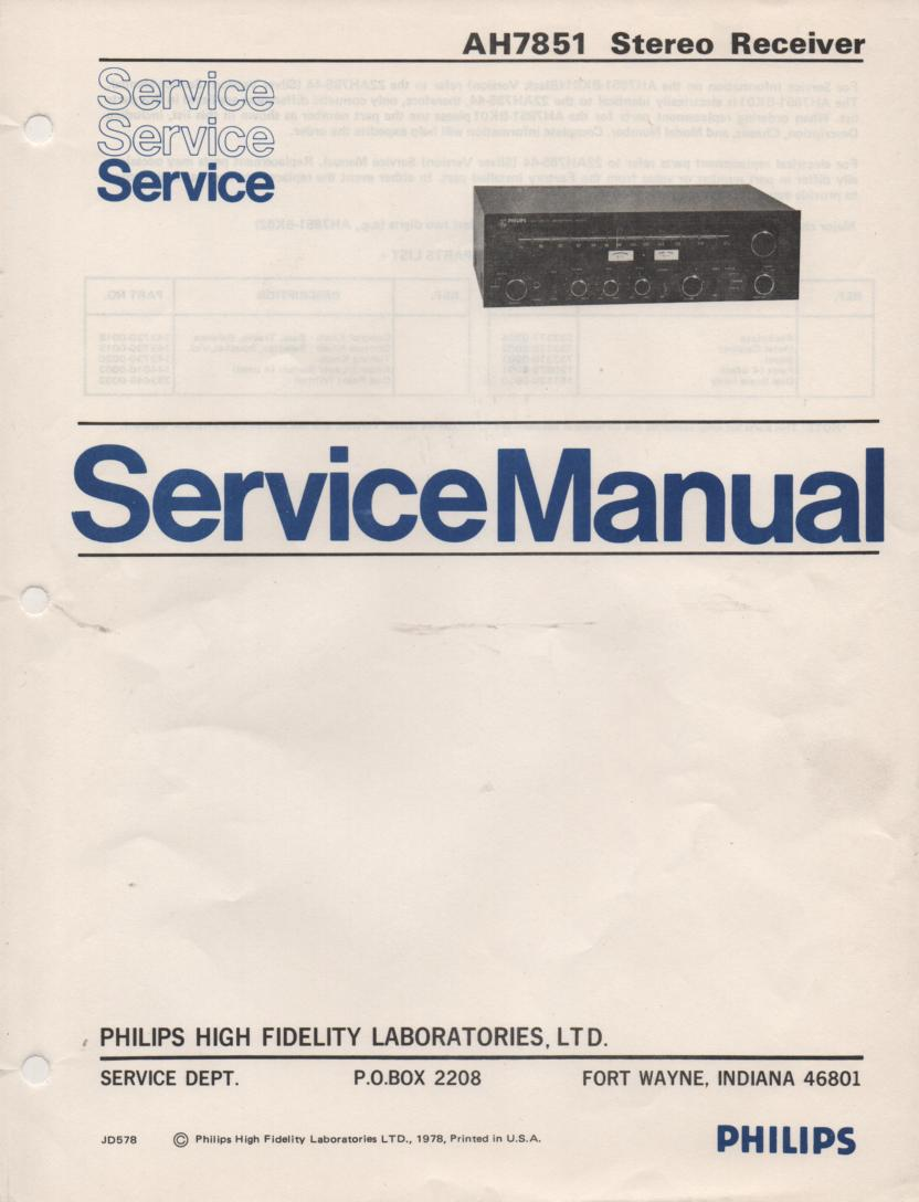 AH7851 Stereo Receiver Service Manual