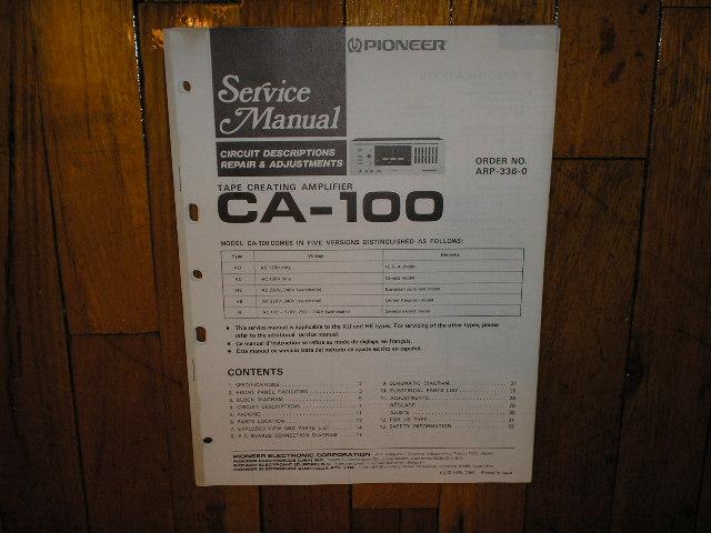 CA-100 Amplifier Service Manual