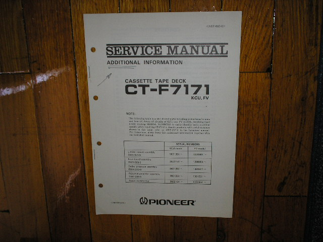 CT-F7171 Cassette Deck Service Manual 2