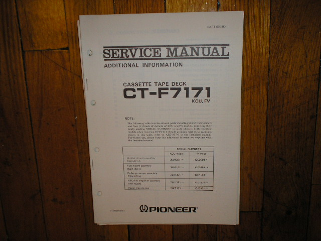 CT-F7171 Cassette Deck Service Manual for KCU and FV Types.
